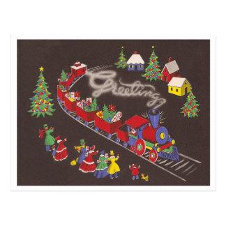 Vintage Christmas Train Postcard