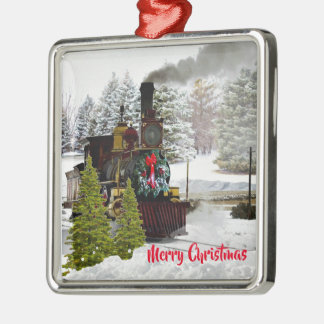 Vintage Christmas Train with Snow and Greeting Christmas Ornament