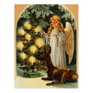 Vintage Christmas Tree and Angel Postcard
