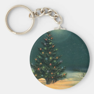 Vintage Christmas Tree at Night with Lights Basic Round Button Key Ring