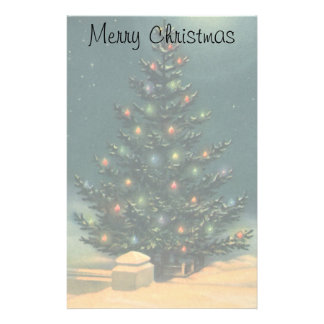 Vintage Christmas Tree at Night with Lights Stationery