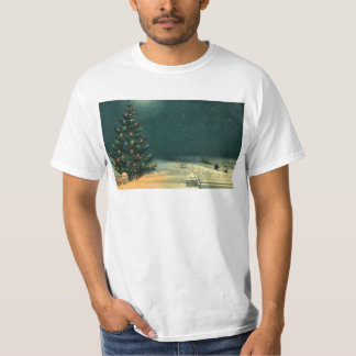 Vintage Christmas Tree at Night with Lights T-Shirt