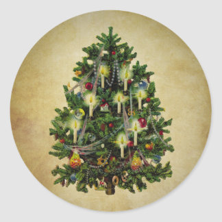 vintage christmas tree classic round sticker