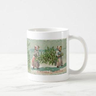 Vintage Christmas Tree cutting Basic White Mug