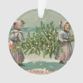 Vintage Christmas Tree cutting Ornament