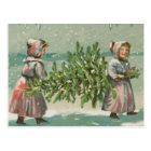 Vintage Christmas Tree cutting Postcard