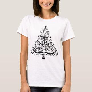 Vintage Christmas Tree Decorative Victorian Scroll T-Shirt