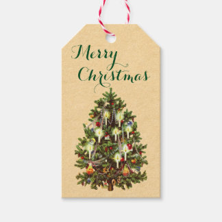 Vintage Christmas Tree Holiday Gift Tags