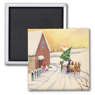 Vintage Christmas Tree on a Snowy Winter Road Square Magnet