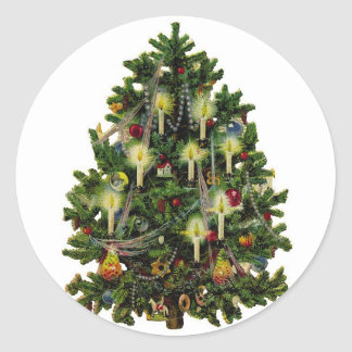 Vintage Christmas Tree Sticker