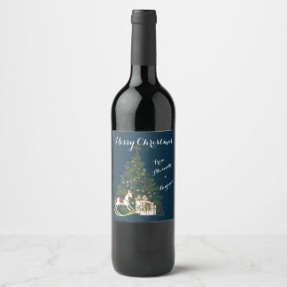 Vintage Christmas Tree Wine Label