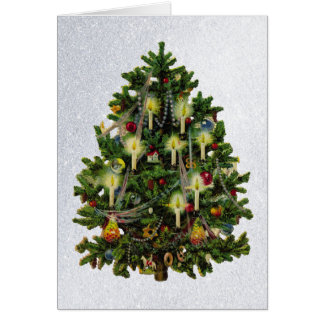 vintage christmas tree with candles greeting card