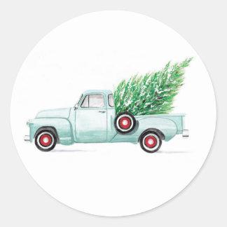 Vintage Christmas Truck Seal Round Sticker