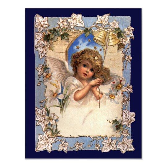 Vintage Christmas Victorian Angel Bells Invitation
