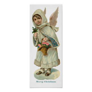 Vintage Christmas Victorian Angel Girl Poster