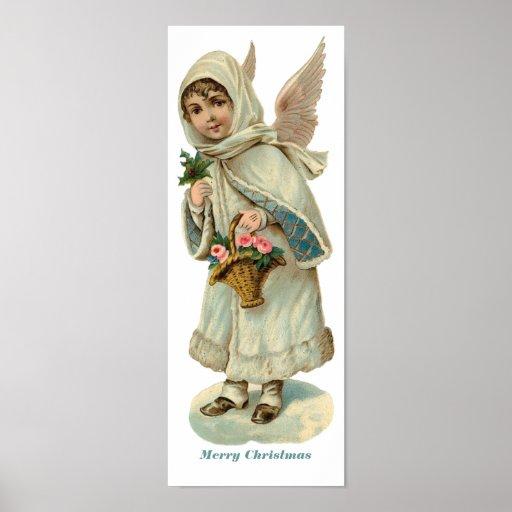 Vintage Christmas Victorian Angel Girl Poster