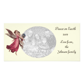 Vintage Christmas, Victorian Angel Holding a Child Photo Card Template
