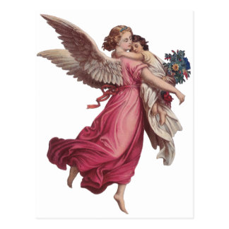 Vintage Christmas, Victorian Angel Holding a Child Postcard