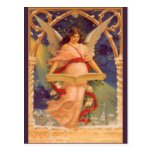 Vintage Christmas, Victorian Angel Reading Bible Postcards