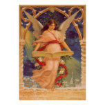 Vintage Christmas, Victorian Angel Reading Bible Print