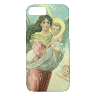 Vintage Christmas, Victorian Angel with Baby Jesus iPhone 8/7 Case