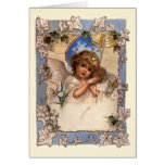 Vintage Christmas, Victorian Angel with Gold Bells Greeting Card