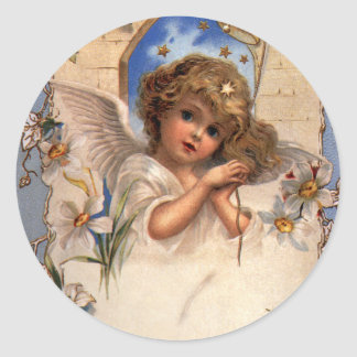 Vintage Christmas, Victorian Angel with Gold Bells Classic Round Sticker