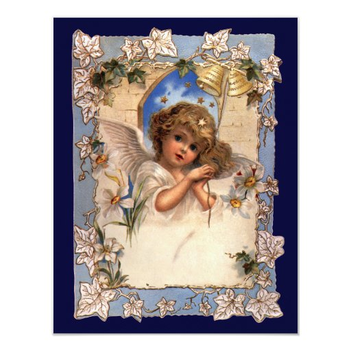Vintage Christmas, Victorian Angel with Gold Bells 4.25x5.5 Paper Invitation Card