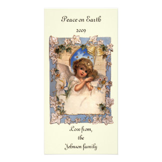 Vintage Christmas, Victorian Angel with Gold Bells Personalised Photo Card