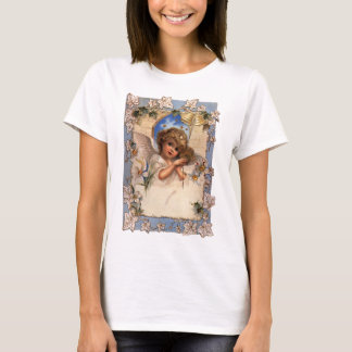 Vintage Christmas, Victorian Angel with Gold Bells T-Shirt