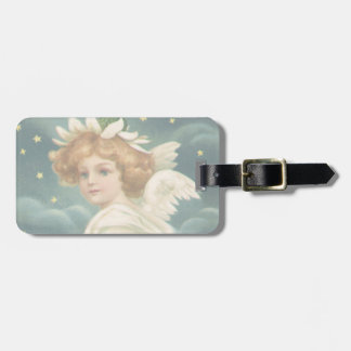 Vintage Christmas, Victorian Angel with Gold Stars Luggage Tag