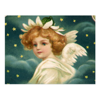 Vintage Christmas, Victorian Angel with Gold Stars Postcard