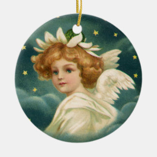 Vintage Christmas, Victorian Angel with Gold Stars Round Ceramic Decoration