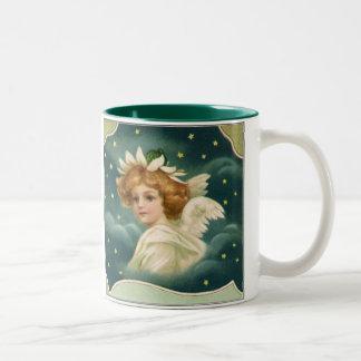 Vintage Christmas, Victorian Angel with Gold Stars Two-Tone Coffee Mug