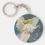 Vintage Christmas Victorian Angel with Stars Roses Basic Round Button Key Ring