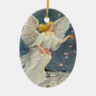 Vintage Christmas Victorian Angel with Stars Roses Ceramic Oval Decoration