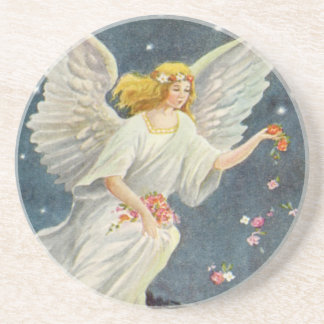 Vintage Christmas Victorian Angel with Stars Roses Coaster
