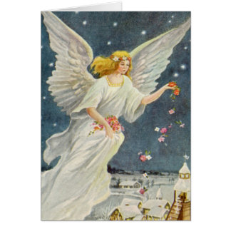 Vintage Christmas Victorian Angel with Stars Roses Greeting Card