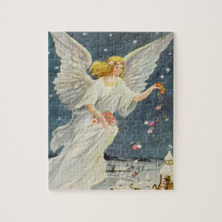 Vintage Christmas Victorian Angel with Stars Roses Jigsaw Puzzle