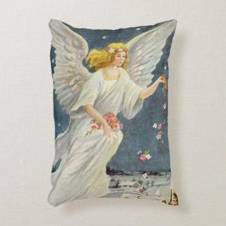 Vintage Christmas Victorian Angel with Stars Roses Accent Pillow