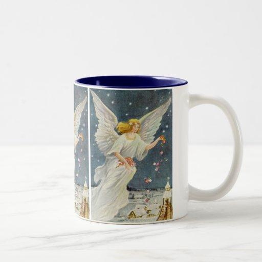 Vintage Christmas Victorian Angel with Stars Roses Mug
