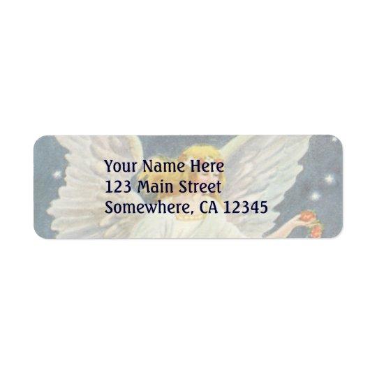 Vintage Christmas Victorian Angel with Stars Roses Return Address Label