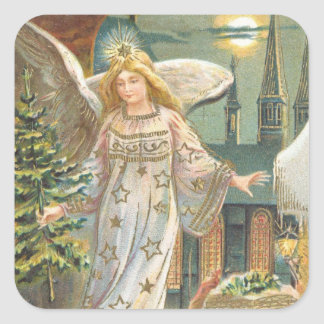 Vintage Christmas, Victorian Angel with Tree Square Sticker