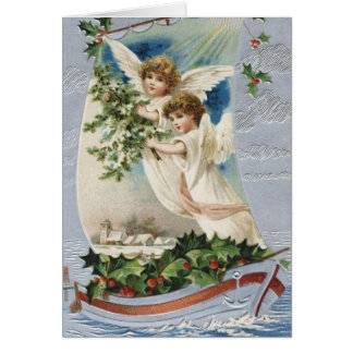 Vintage Christmas, Victorian Angels in a Sailboat Card