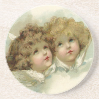 Vintage Christmas, Victorian Angels in the Clouds Beverage Coaster