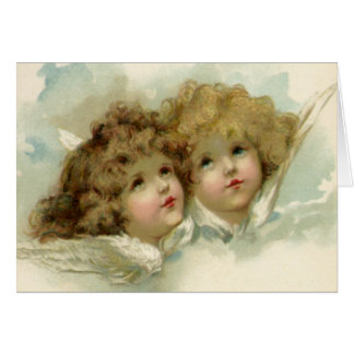 Vintage Christmas, Victorian Angels in the Clouds Card