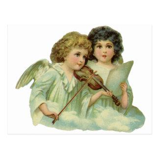 Vintage Christmas, Victorian Angels Music Violin Postcard