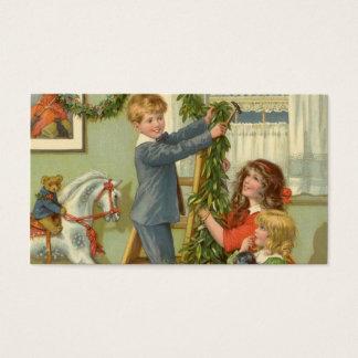 Vintage Christmas, Victorian Children Decorating