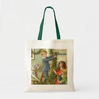 Vintage Christmas, Victorian Children Decorating Budget Tote Bag