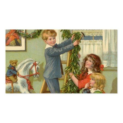 Vintage Christmas, Victorian Children Decorating Business Card Templates